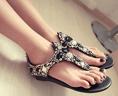 Noir Strass Clip Aisun Toe Sandales Femme Mode nqY6w64S