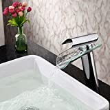 Furesnts Modern home kitchen and bathroom faucet Modern style single handle cold hot water chrome-plated copper Tile-shaped glass waterfall basin Faucets ,(Standard G 1/2 universal hose ports)