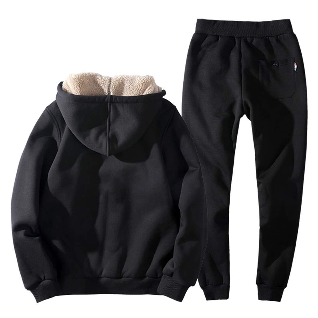 Real Spark Men's Winter Fleece Hoodie Jacket & Jog Pants Set Casual Running Tracksuit Black L by Real Spark (Image #2)