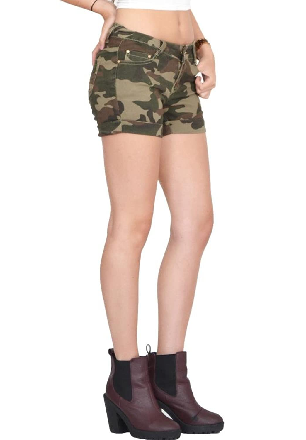 Unbranded Army Camouflage Fitted Stretch Hot Pants Shorts - Dark Green (6):  Amazon.co.uk: Clothing