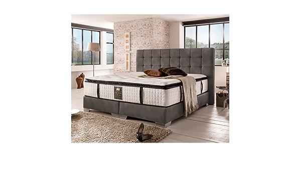 London Cama con somier Deluxe (200 x 200 cm), color gris ...