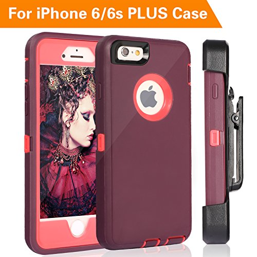 FOGEEK iPhone 6S Plus Case, Protective Case Heavy Duty Cover Compatible for iPhone 6 Plus & iPhone 6S Plus 5.5 inch 360 Degree Rotary Belt Clip & Kickstand (Wine Red/Rose)