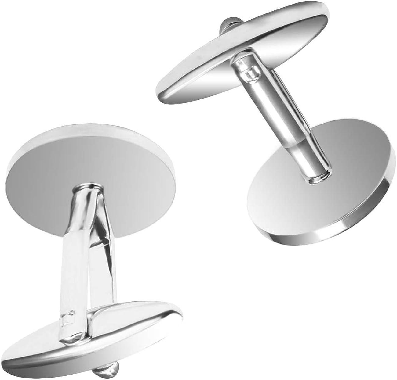 vogem Pearl Shell Cufflinks for Men Silver Tone Round Stainless Steel Business Wedding Shirt Cufflinks