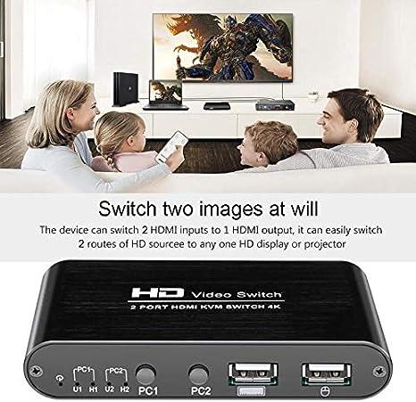 SovelyBoFan 2 Port HDMI Kvm Switch 4Kx2K Ultra HD Switcher f/ür Dual Monitor Tastatur Maus