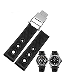 Zhuolei Waterproof And Sweatproof Silicon Strap Breitling Replacement 22mm Black (black)
