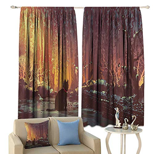 - cobeDecor Fantasy Art Decor Insulated Sunshade Curtain Surreal Lost Black Cat Deep Dark in Forest with Mystic Lights Picture Noise Reducing