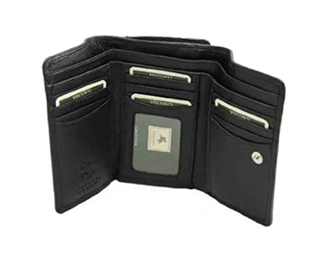 Visconti Heritage -32 Soft Leather Womens Trifold Wallet / Purse (Black) at Amazon Womens Clothing store: