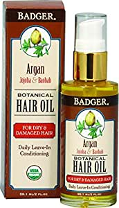 Badger Argan Hair Oil - For Dry & Damaged Hair 2 Ounce