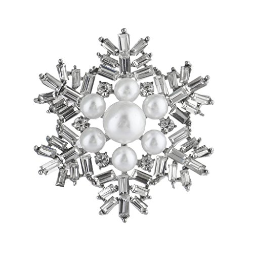 Lux Accessories Silvertone Faux Pearl Xmas Holiday Snowflake Brooch ()