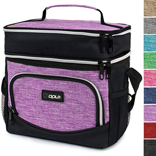 OPUX Insulated Dual Compartment Lunch Bag, Double Deck Lunch Box for Women | Soft Leakproof Lunch Tote Cooler for Work, Office, School | Medium Reusable Lunch Pail, Fits 8 Cans (Heather Purple)