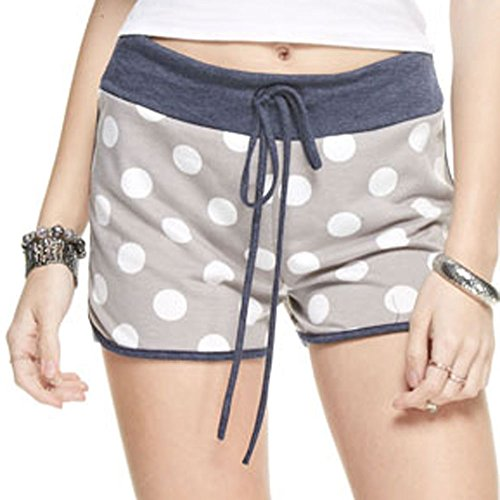 Marilyn & Main Women's French Terry Polka Dot Shorts (Medium, Light Grey Polka Dot)