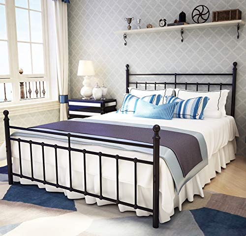 Metal Bed Frame Queen Size with Vintage Headboard and Footboard Platform Base Wrought Iron Double Bed Frame Black