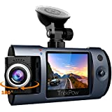 """Dash Cam, Trekpow by ABOX HD 1080P Car DVR Dashboard Camera with 180°Rotation for Front and Cabin, 2"""" LCD, 170°Wide Len, Night Vision, G-Sensor Lock, Loop Recording, Motion Detection, Parking Mode"""