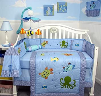 soho sea life baby crib nursery bedding set 13 pcs included diaper bag with changing pad