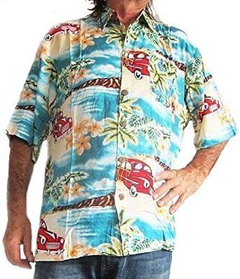 Loud Hawaiian Camisa Hombre con Coche Vintage y Estampado de Palmeras XXL: Amazon.es: Ropa y accesorios