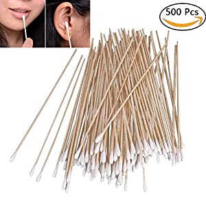 500PCS Cotton Tips Swabs For Cotton Pads & Rounds , Wooden Long Makeup Eraser Stick ,Sterile Baby Nail & Ear Face Cream Ball Cleaner , Maintaining Electronics To Cleaning Jewelry For Medicine , Beauty