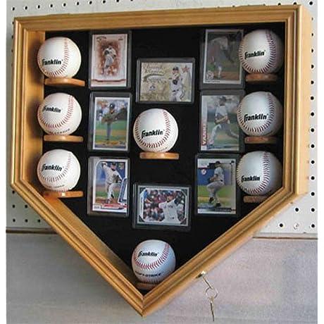 Oak Baseball Shadow Box Display Case Cabinet Uv Protection Lock
