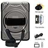 iPad Mini 123 Protective Case, Three Layer Rugged Shockproof Protector with 360° Swivel Kickstand& Shoulder Strap& Hand Strap for iPad Mini1 iPad Mini 2 iPad Mini 3 Case (Black)