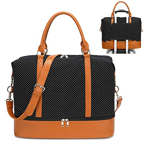 - Womens Travel Weekend Bag Canvas Overnight Carry on Shoulder Duffel Beach Tote Bag (Black polka dot with shoe compartment)