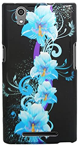 Eagle Cell Snap-On Protector Case for ZTE Zmax Z970 - Retail Packaging - Four Blue Flowers (Zte Zmax Phone Case Z970)
