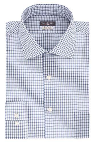 Van Heusen Men's Dress Shirts Regular Fit Flex Collar Check, Danish Blue, 15.5