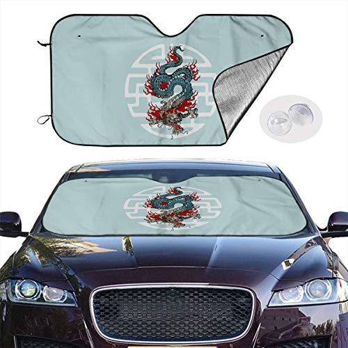 Auto Car Sunshade for Windshield Japanese Dragon Tattoo Foldable Windshield Sun Protector Damage Free Universal Fit Cars SUVs Trucks Vans 51x27.5 Inches ()