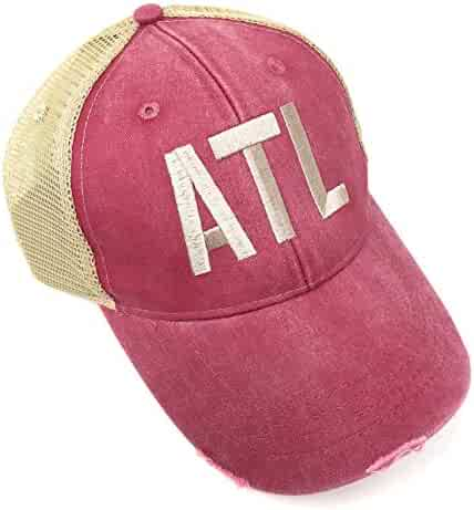 Custom Monogrammed ATL Atlanta Hartsfield–Jackson Airport Code Distressed  Trucker Hat (Adams Red  113fc7996703