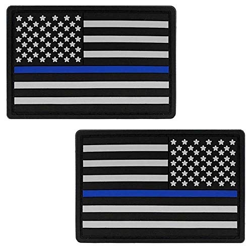 - Bundle Thin Blue Line American Flag PVC Patch - USA Flag Patch United States of America Military Uniform Tactical Jacket Milsim Hats - Soft Rubber- Hook & Loop - 3