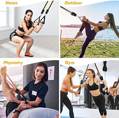 Resistance Bands Set for Men & Women(11Pcs) , 5 Pieces Fitness Workout Bands Stackable as much as 150 lbs, Exercise Bands may also be Strapped with Door Anchor,Handles and Ankles for Resistance Traning