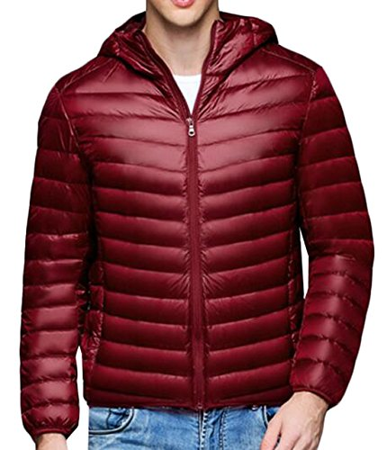 Hooded Wine Coat Jacket Warm Red Men's Down Puffer 3XL EKU Packable Casual US wq0XxCP8