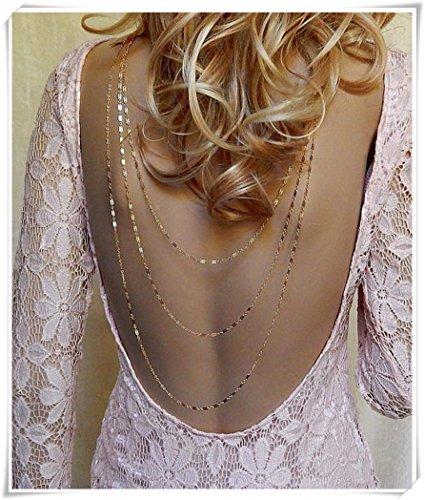 Necklace Backdrop (Leonid Meteor Shower Back Necklace Layered Backdrop Necklace Double Chain Wedding Necklace)