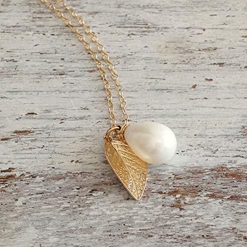 Custom Pearl Leaf Necklace white teardrop pearl leaf Charm 14k Gold Filled Chain Jewelry