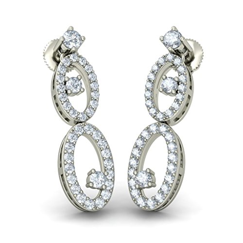 Or blanc 18 K 0.692 CT TW Round-cut-diamond (IJ | SI) Pendants d'oreilles