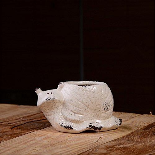 Snail Pot (YOURNELO Creative Vintage Cute Cartoon Animal White Matte Ceramic Sand Glaze Plant Pots Cactus Flower Pot Container (Snail))
