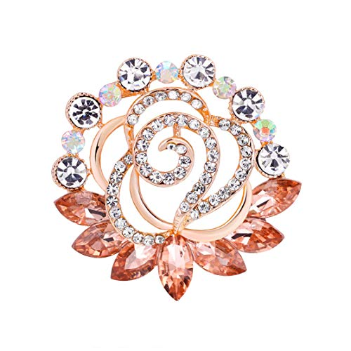 Fiona Jolin Colorful Crystals Wreath Flower Corsage Brooch Pin (Multicolor-A)