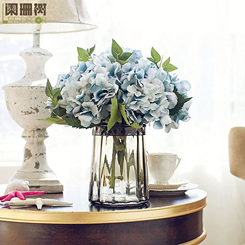 Habe Six Blue Hyfrangeas Artificial Flowers With Grey Vase