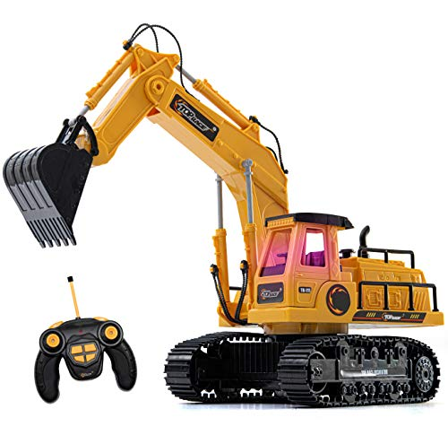 Top Race 7 Channel Full Functional RC Excavator, Battery Powered Electric RC Remote Control Construction Tractor With Lights & Sound (TR-111) (Dump Truck Remote Control)