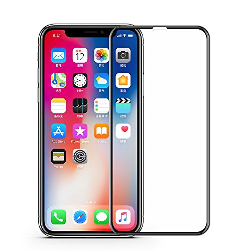 VRURC iPhone X Screen Protector, 5D Curved 9H Hardness Tempered Glass Screen Protector for iPhone X, HD Full Coverage iPhone X/10 Glass Protective Film [Bubble Free] [3D Touch]–Black