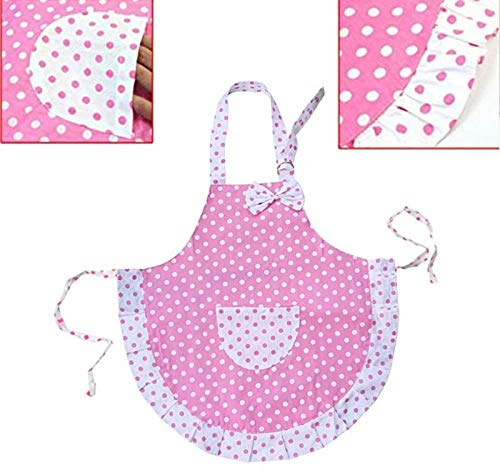 INABox Kids Apron Kitchen Pretend Play for Girl Chef Cooking and Baking Apron Chef Baker Costume Waitress Artist Career Role Play Dress Up Birthday Princess White Dot with Adjustable Neck Strap ()