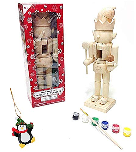 Large Elf King Paint It Yourself Traditional Decorative Holiday Season Wooden Christmas Nutcracker Craft & Tree Ornament (Paint Wooden Santas To)