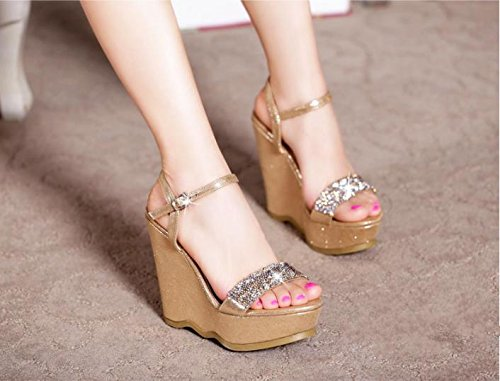 BaiLing Womens summer sandals / Wedge Heel waterproof / Rhinestones thick bottom / small size female shoes Black nRbZGcnN