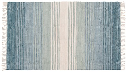 Stitch and Shuttle 24 by 36 inch Hand Woven Chindi Rug, Seaglass Blue Stripe (Washable Rugs Throw)