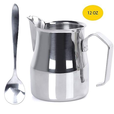 Jarra de espuma de leche acabado mate 12 onzas jarra de acero inoxidable jarra de espuma de tefl/ón antiadherente