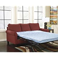 Zeth Collection 2710237 58 Twin Sofa Sleeper with Fabric Upholstery Rolled Arms Tapered Legs and Contemporary Style in Crimson