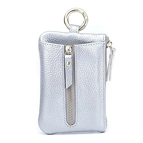 (Aladin Womens Leather Key Case/Zipper Coin Purse/Card Holder Wallet Silver)