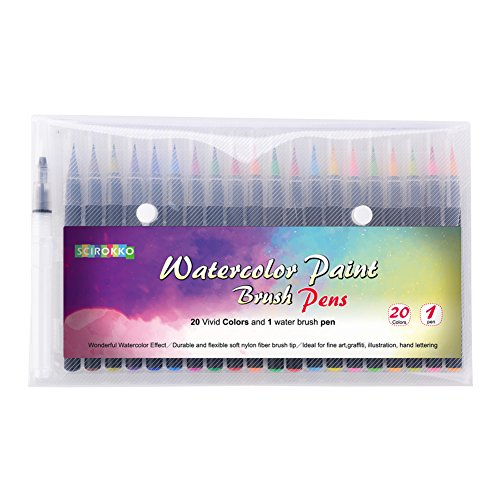 watercolor Brush Pen Set- 20 Vibrant colors pen 1 Refillable Blending Water Pen- Paint Brush Pens Maker the Perfect Gift For Children (Maker Brush)