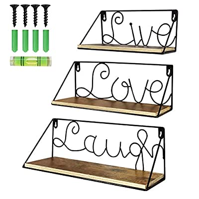 """Wall Mounted Floating Shelves Set of 3 Storage Shelf with Live Love Laugh Rustic Metal Word for Home Kitchen Bathroom Bedrooms Decor - Set of 3 RUSTIC WALL SHELVES, designed with simple but meaningful words, """"Live"""", """"Laugh"""" and """"Love"""". These motivational words wall art floating shelves can be a great decoration addition to your room, create a love atmosphere. Perfect for a lot of OCCASION, such as lovers bedroom, couple bedroom, newlyweds room, dining room, cafe, home decor or even more place. Makes a great GIFT for anyone looking to liven up their new home, living room or bathroom. And make a great Christmas/Housewarming gift for family/friends as well. Perfect for displaying your collectibles, photos, decorative items and small collections. - wall-shelves, living-room-furniture, living-room - 51EsjSGIonL. SS400  -"""