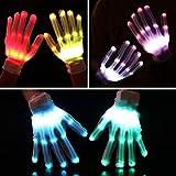 Elar Julie LED 12-Color Flashing Skeleton Gloves - Novelty Halloween Costume Party Gloves, 1 Pair, White