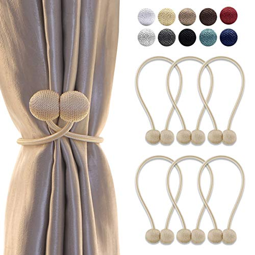 (HUYIJJH Curtain Tiebacks Magnetic, Decorative Curtain Holdbacks for Window Décor, Beige (Pack of 6) )