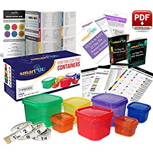 21 Day Portion Control Containers Kit – Nutrition Diet, Multi-Color Coded Weight Loss System. Complete Guide + PDF Planner + Recipe eBook and Tape Measure – BPA Free – 7 PC 51EsjyuD5bL  Get Healthy Today! 51EsjyuD5bL